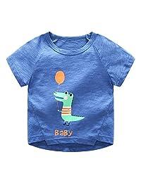 Ian&Sophia 男婴幼童可爱恐龙鳄鱼船图案短袖 T 恤