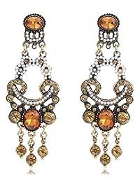 金色调褐色 黄玉 黄水晶 带种子珍珠 Edwardian 维多利亚复古风格耳环