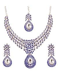 Touchstone 白色调印度宝莱坞白色水钻令人惊叹的新娘首饰项链  蓝色 2