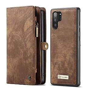 Simicoo 三星 Galaxy S10 Plus 皮革钱包拉链钱包可拆卸卡槽翻盖手机套磁性手柄腕带防震口袋钱包手提包适用于 Galaxy S10 Plus S10 棕色