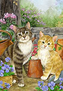 Toland Home Garden Purrfect Garden 12.5 x 18 Inch Decorative Spring Summer Potted Pansy Flower Kitty Cat Garden Flag