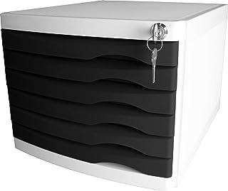 "Helit H6128395 抽屉盒 ""the safe"" 可锁定 6 个抽屉 适用于 DIN A4规格,黑色,1件"