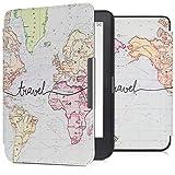 kwmobile Case for Kobo Clara HD - Book Style PU 皮革保护套 e-Reader Cover Folio Case - 白色/黑色45220.24_m001201 .World Map Travel black/multicolor