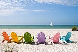 """彩色沙滩椅 """"Multi"""" 9 x 12 Art Print LANT-52997-9x12"""