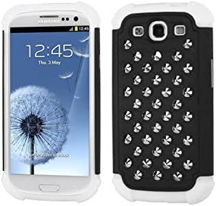 MyBat Samsung Galaxy S III i747/L710/T999/i535/R530/i9300 Silver Round Studs Lattice Dazzling Total Defense Cover - Retail Packaging - Black/White