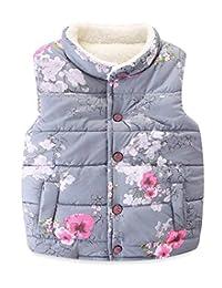 儿童幼童女童花朵羊毛夹克背心外套腰衣保暖冬季外套