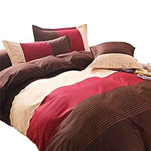 Home Comforter 亚麻豪华超细纤维床上用品印花条纹羽绒被套套件,超柔软 条纹 红色 Full/Queen