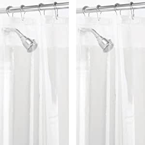 "mDesign Long Waterproof, Mold/Mildew Resistant, Heavy Duty PEVA Shower Curtain Liner for Tall Bathroom Shower and Tub - No Odor, Chlorine Free - 3 Gauge, 72"" x 84"", Pack of 2, Clear"