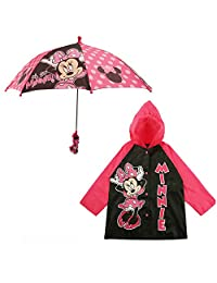 Disney Girls' Minnie Mouse Girls Slicker and Umbrella Set