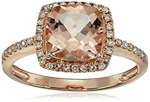 10k Rose Gold Morganite and Diamond Solitaire Cushion Ring (1/6cttw, H-I Color, I1-I2 Clarity), Size 7
