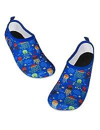 儿童水游泳鞋赤脚水袜鞋速干防滑婴儿男孩和女孩 Colorful Jellyfish 9.5-10 Toddler