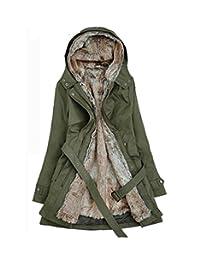 SATUKI 女式冬季加厚中长款羊羔羊毛连帽棉外套夹克