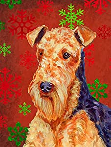 Airedale Red and Green Snowflakes Holiday Christmas Flag 多色 小号