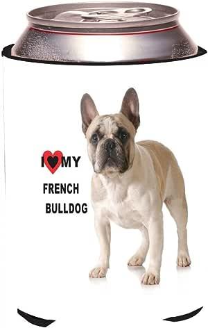 "Rikki Knight RKws-KOOZIE-45056 ""I Love My French Bulldog Light Brown and White Bulldog Design"" Beer Can/Soda Drink Cooler Koozie"