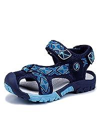 马爷子 儿童沙滩鞋 优质猪皮鞋面+织带 防滑减震 中小学生凉鞋 防撞包头沙滩鞋 012-NB41-X