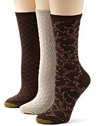 Gold Toe 女式 3 双装花卉钻石和叶子图案袜子
