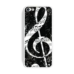 Graphics and More Vintage Treble Clef Music Black Protective Skin Sticker Case for Apple iPhone 5C - Set of 2 - Non-Retail Packaging - Opaque