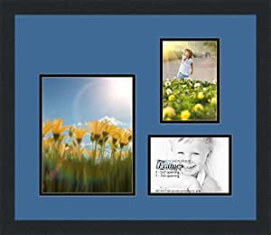 ArtToFrames 字母摄影相框,带 1-8x10 和 2-5x7 开口。 黑色缎面镜框 Liberty 蓝色 8x10 Double-Multimat-225-817/89-FRBW26079