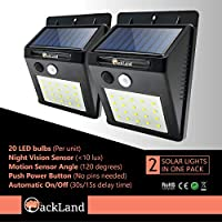 OACKLAND 2 件装暖白 20 LED 太阳能壁灯,带运动传感器,适用于户外