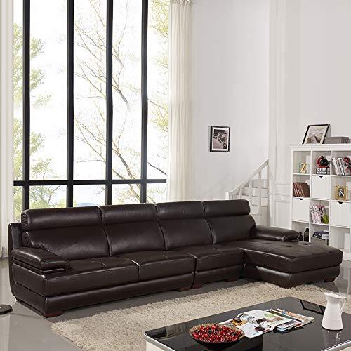 下单赠价值998元真皮圆凳1个ZUOYOU 左右 沙发L形现代头层牛皮真皮沙发客厅皮艺沙发贵妃组合 DZY2835 转二加休正向深咖色