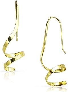 实心银 - 标准纯银螺旋旋转吊坠耳环 | 纯银或黄金浸渍