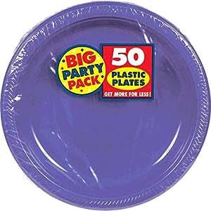 Amscan 大派对包 50 片塑料午餐盘,10.5 英寸,全新紫色 全新紫色 50 pieces 630732.106