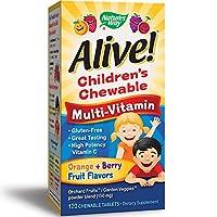 Nature's Way 澳萃維兒童優質咀嚼型復合維生素,水果和蔬菜混合物(每份150毫克),無麩質,120粒咀嚼片