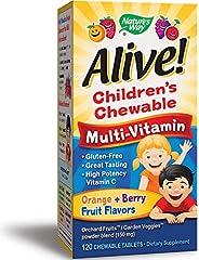 Nature's Way 澳萃维儿童优质咀嚼型复合维生素,水果和蔬菜混合物(每份150毫克),无麸质,120