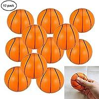 WedFeir 迷你篮球压力球 12 只装 2.5 英寸小泡沫篮球,减压篮球,儿童运动主题派对礼品玩具生日派对游戏。