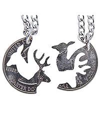 Marycrafts Buck and Doe 联锁项链套装四分硬币切口,情侣珠宝关系鹿头饰