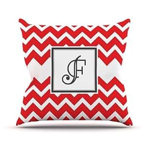 Kess InHouse KESS 原创交织字母 V 形红色字母 F 户外抱枕,40.64 x 40.64 厘米