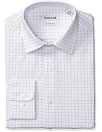 Haggar 正装衬衫男式经典修身性能可调节项圈 tattersall