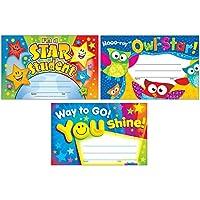 适合学生和专业人士的彩色识别*证书| I'm a Star Student,Hooo-ray Owl Stars,Way to Go You Shine | 3 件套,每包含 30 件,5.50 英寸 x 8.50 英寸