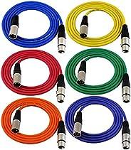 GLS Audio 182.88 厘米接插線電纜 - XLR 公對 XLR 母色電纜 - 182.88 厘米平衡蛇線 - 6 包