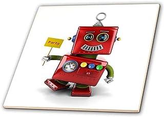 carsten reisinger illustrations 插图–幸福复古机器人玩具 waving A 派对标志 while 跳舞可爱有趣 celebrate 庆典–瓷砖