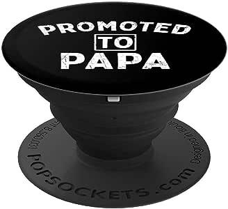 Promoted To Papa New Grandfather 父亲节礼物 PopSockets 手机和平板电脑握架260027  黑色