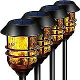 """Camabel 139.7 cm LED 太阳能灯户外通路手电筒,高防水舞动闪烁火焰,重型通道灯,适用于 Garden Patio 庭院泳池,* 金属不锈钢行道照明聚光灯 4 pack 55"""""""