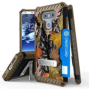 LG G6 手机壳,Mstechcorp 混合坚固全身装甲防护手机壳带支架,卡槽和旋转皮带扣皮套适用于 LG G6 with Goodie 叶绿色