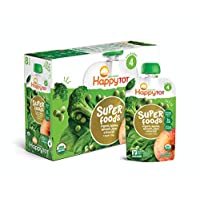Happy Baby Happy Tot Organic 4阶 Super Foods 苹果菠菜豌豆和花椰菜+Super奇亚,4.22盎司/120克 袋装(16袋)(包装可能会有所不同)