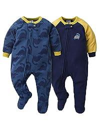 Gerber 男宝宝毛毯睡衣 2 件套 Blue/Gold Dino 12 Months