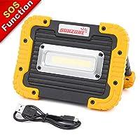 便携式 LED COB 工作灯,户外防水泛光灯,适用于露营、远足、汽车修理、车间、建筑工地、内置充电电池和 SOS 紧急模式 黄色 b003by