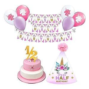 1/2 岁生日女孩照片道具 6 个月生日女孩。 独角兽主题生日。 包括生日弹弓横幅、1/2 岁生日气球、生日帽和蛋糕装饰(粉色、紫色、白色)