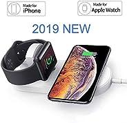 OSMCELL Apple Watch 磁性无线充电器,兼容 iWatch 系列 4/3/2/1、2 合 1 充电板支架,适用于 iPhone Xs/XS MAX/XR/X/ 8/ Plus