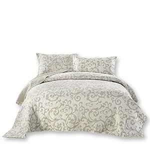 DaDa Bedding 优雅花卉豪华Couture 薄轻质棉布拼布床单套装 - 白色印花 - 白色 全部 NEW HS-8760-F