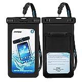 Mpow 升级防水保护套带臂带,IPX8 通用手机防水袋,适用于 iPhone X/8/8Plus/7/7Plus/6S/6Plus、Samsung Galaxy、HTC、Google Pixel 高达 6.0 英寸 [2 件装]MPPA096AB-PTX Portable Size 黑色