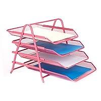 Mind Reader 书桌收纳盒带 3 个可放置信件、文件 4 Tier Pink 4TPAPER-PNK