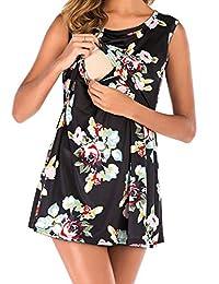 BAIKEA 女式花卉无袖哺乳束腰孕妇哺乳背心 S-2XL