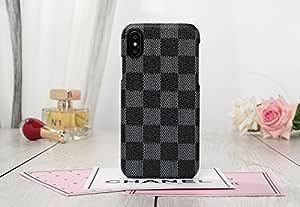 HeiL iPhoneXR 后备箱(亚马逊快递*)新款优雅奢华 PU 皮格子图案经典款手机壳适用于苹果 iPhone XR 灰色 TPU