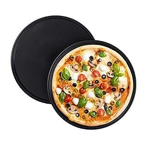 Relaxdays 披萨板,2件套,圆形,不粘涂层,披萨和火饼,碳钢,披萨形状,32厘米,灰色