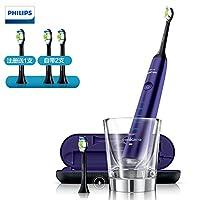 Philips 飞利浦 HX9372/04 钻石亮白型紫钻声波震动牙刷(自带刷头*2+充电旅行盒+充电玻璃杯)魅惑紫,男女皆宜